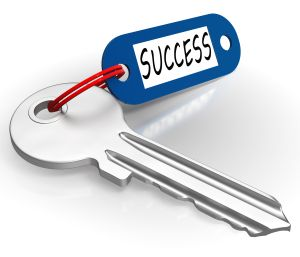Key With Success Word Showing Winning