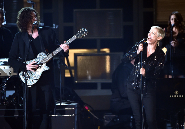Hozier and Annie Lennox perform onstage during The 57th Annual GRAMMY Awards at the STAPLES Center on February 8, 2015 in Los Angeles, California. (Photo by Kevin Winter/WireImage)