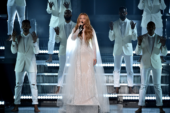Beyonce performs onstage during The 57th Annual GRAMMY Awards at the STAPLES Center on February 8, 2015 in Los Angeles, California. (Photo by Kevin Winter/WireImage)