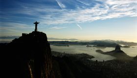Aerial view of Christ the Reddemer overlooking Guanabara bay, Rio de Janiero, Brazil.