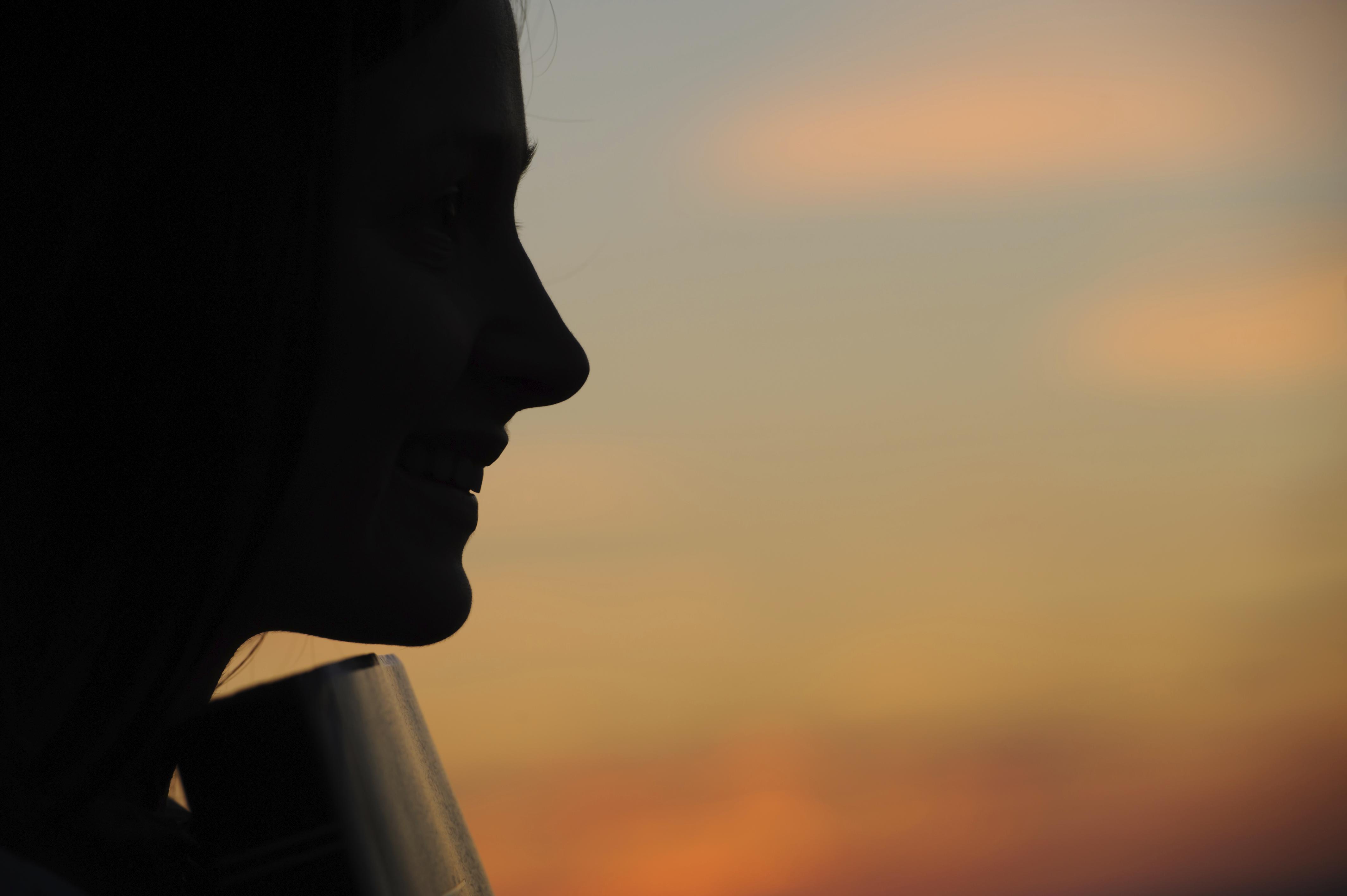 Silhouette in sunset light.