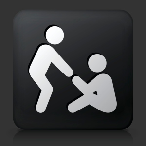 Black Square Button with Helping Hand Icon