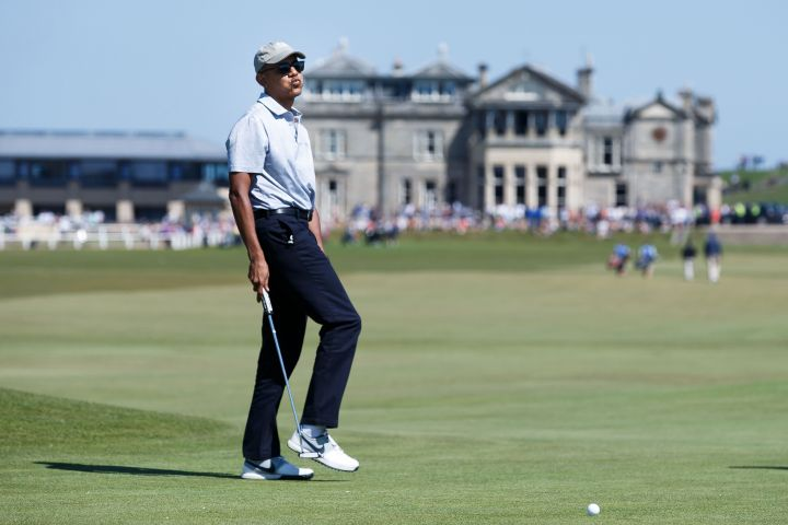 Former President Obama Plays Golf in St Andrews
