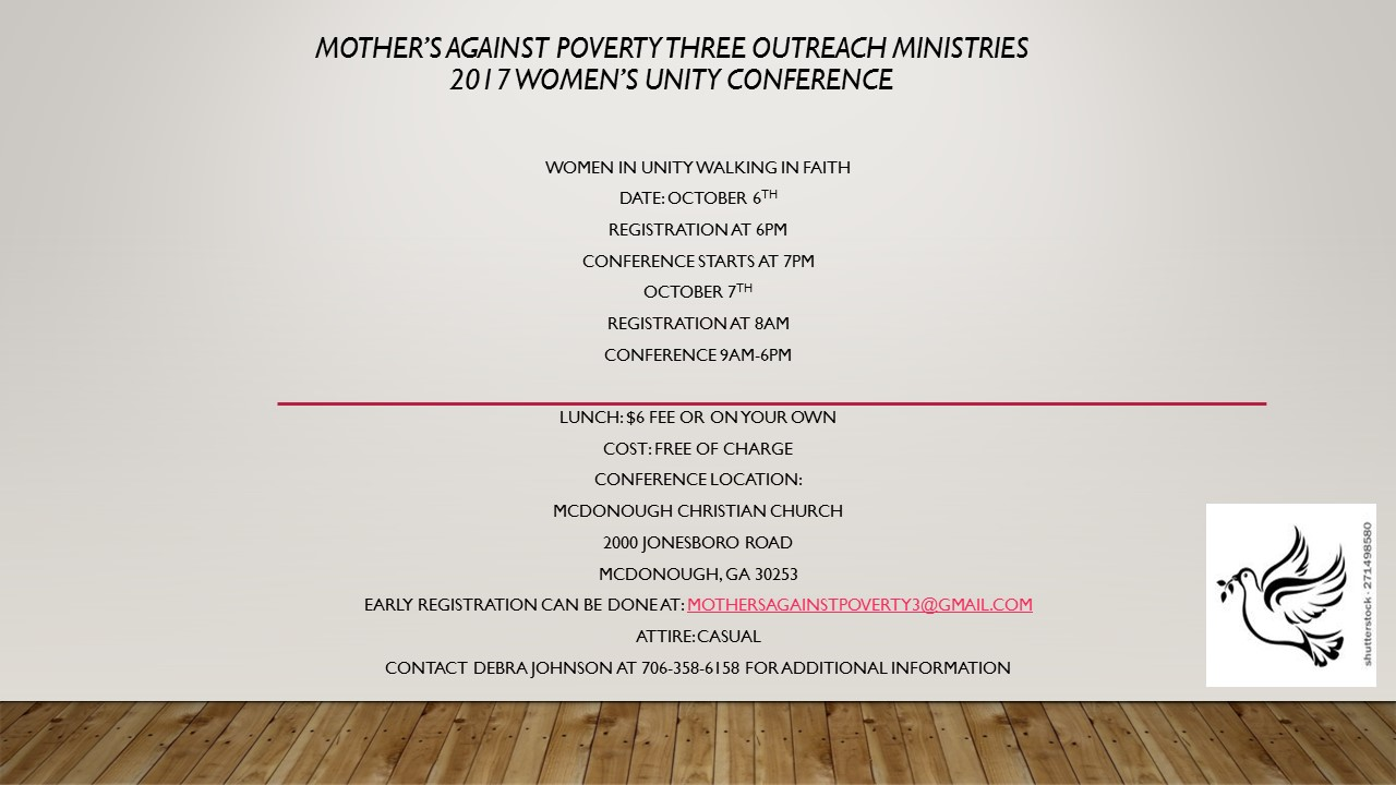 Mother's Against Poverty 2017 Women's Unity Conference