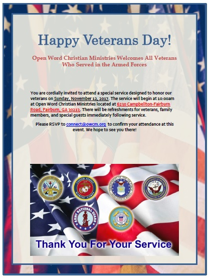 Open Word Christian Ministries Veterans Day Celebration