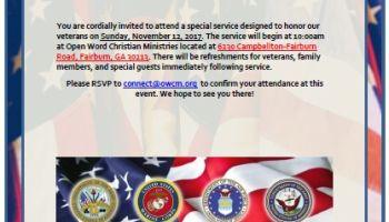 Open Word Christian Ministries Veterans Day Celebration