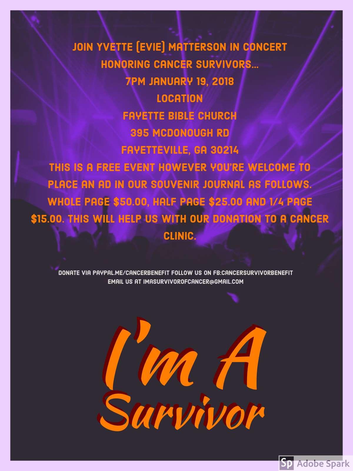 I'm A Survivor Cancer Benefit Concert
