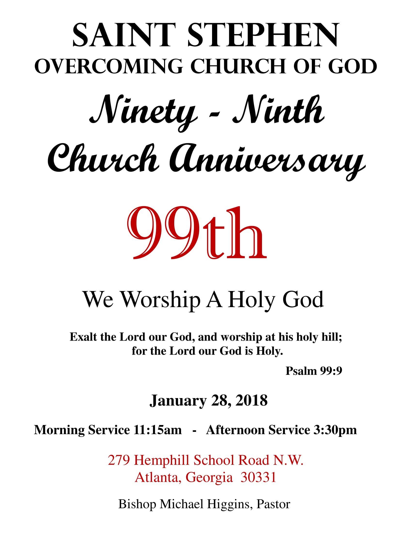 99th Church Anniversary Celebration