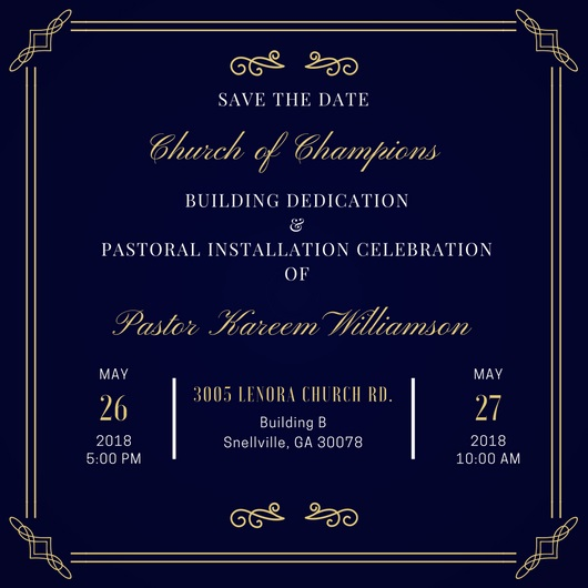 Church of Champions building dedication and pastoral installation services
