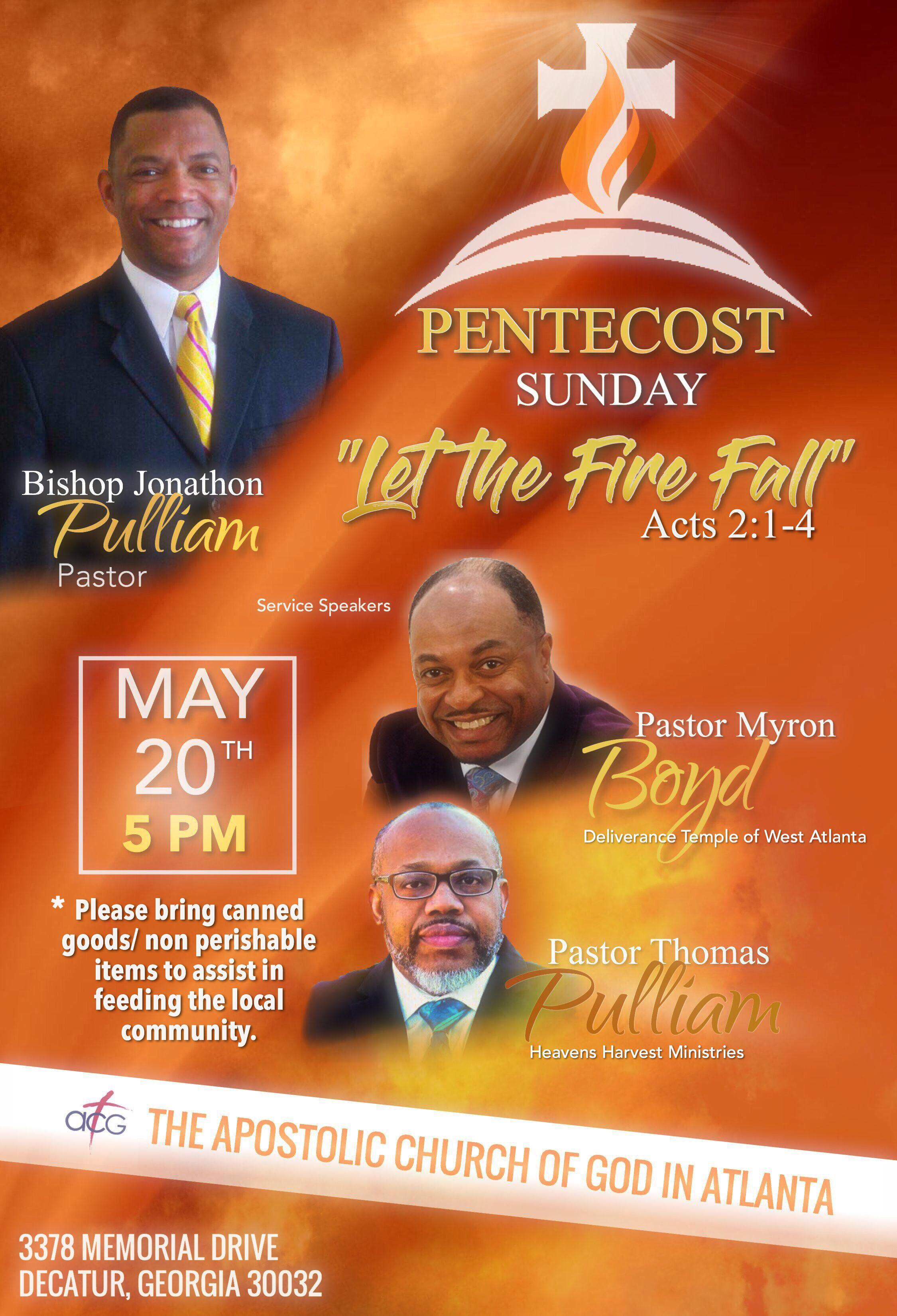 let the fire fall pentecost sunday celebration